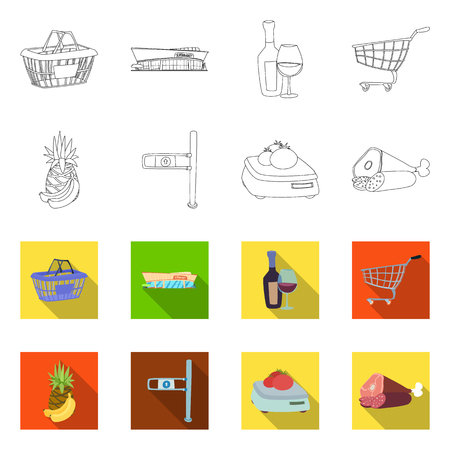Isolated object of food and drink sign. Set of food and store stock symbol for web. Illustration
