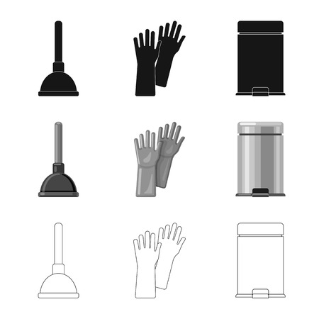 Vector illustration of cleaning and service symbol. Set of cleaning and household stock symbol for web. Vetores