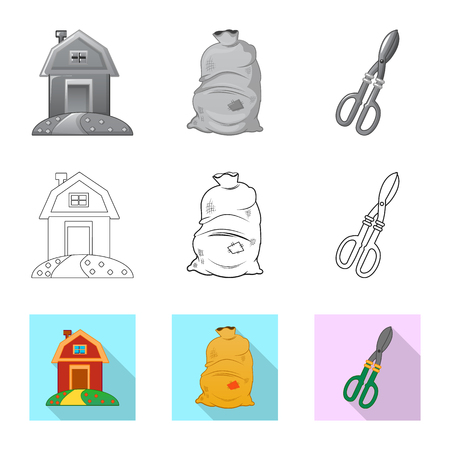 Vector illustration of farm and agriculture symbol. Collection of farm and plant vector icon for stock.