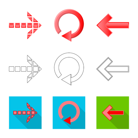 Vector design of element and arrow logo. Collection of element and direction vector icon for stock.