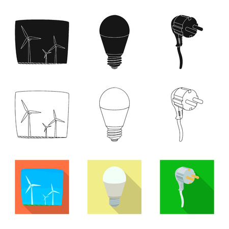 Vector illustration of electricity and electric logo. Collection of electricity and energy stock symbol for web.