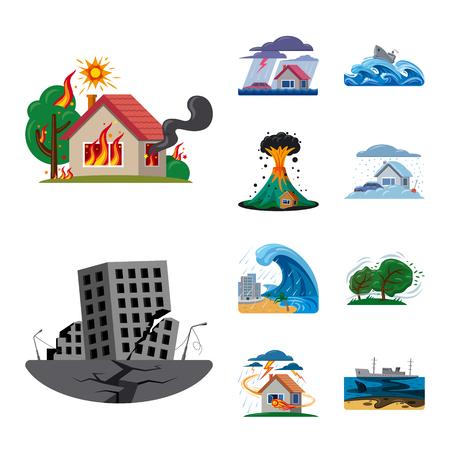 Objet isolé du symbole naturel et de catastrophe. Collection d'illustration vectorielle stock naturel et risque.