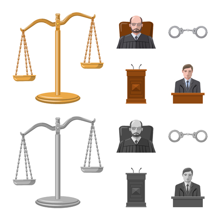 Vector design of law and lawyer icon. Collection of law and justice stock symbol for web.