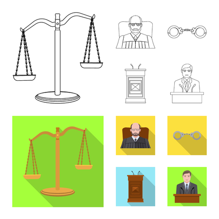 Vector illustration of law and lawyer icon. Collection of law and justice stock vector illustration.