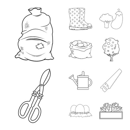Vector illustration of farm and agriculture icon. Collection of farm and plant vector icon for stock.