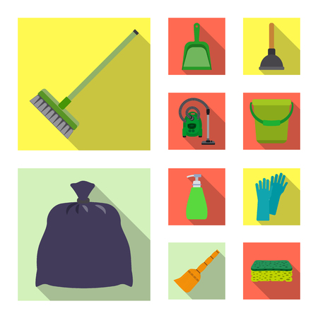 Isolated object of cleaning and service sign. Collection of cleaning and household stock vector illustration. Vettoriali