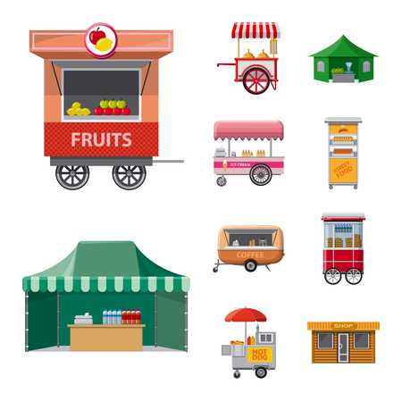 Vector illustration of market and exterior symbol. Collection of market and food stock symbol for web.