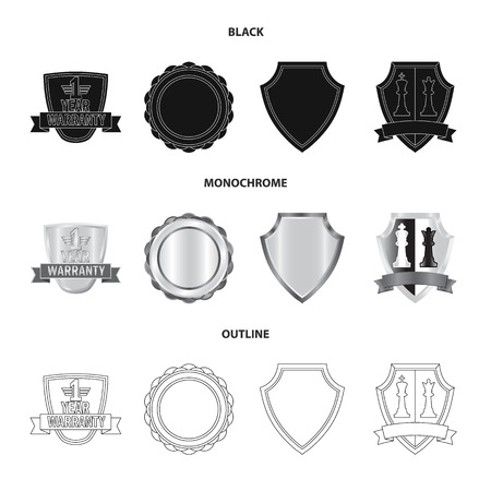 Vector design of emblem and badge icon. Set of emblem and sticker stock symbol for web.