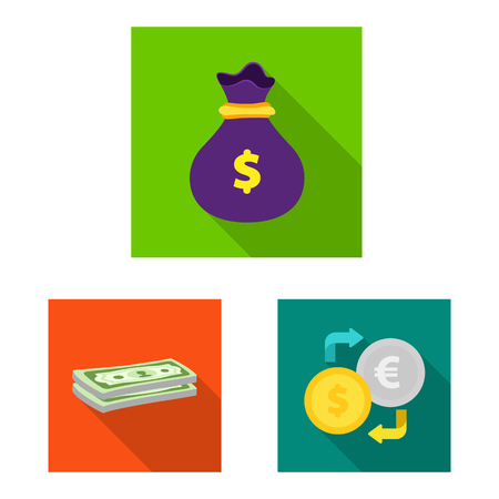 Vector illustration of bank and money symbol. Collection of bank and bill vector icon for stock.
