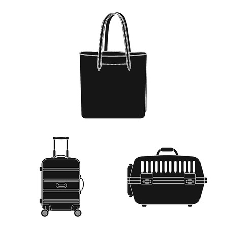 Vector design of suitcase and baggage icon. Collection of suitcase and journey stock vector illustration.