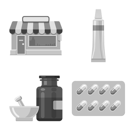 Isolated object of pharmacy and hospital logo. Set of pharmacy and business vector icon for stock.