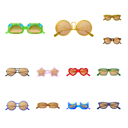Vector design of glasses and sunglasses symbol. Collection of glasses and accessory vector icon for stock.