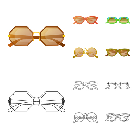 Vector design of glasses and sunglasses icon. Set of glasses and accessory stock vector illustration.