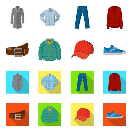 Vektor-Illustration von Mann und Kleidung Zeichen. Sammlung von Mann- und Verschleißvektorsymbolen für Aktien.