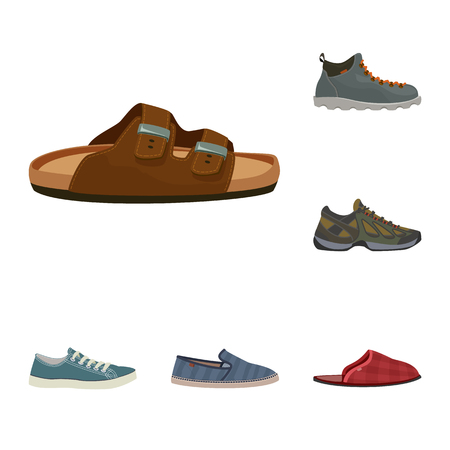Isolated object of shoe and footwear logo. Set of shoe and foot vector icon for stock.