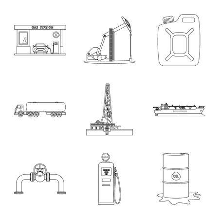 Isolated object of oil and gas symbol. Collection of oil and petrol stock vector illustration.