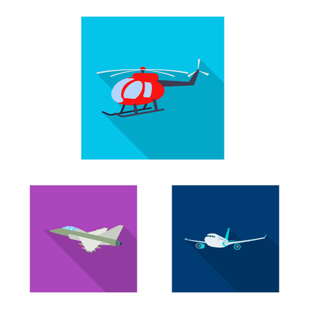 Vector illustration of plane and transport icon. Collection of plane and sky stock symbol for web. Illustration