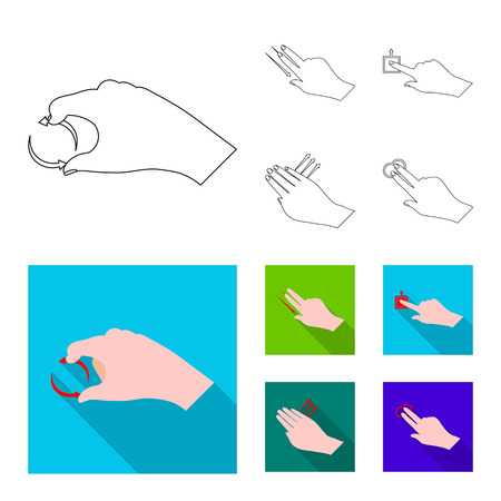 Isolated object of touchscreen and hand icon. Set of touchscreen and touch stock symbol for web.