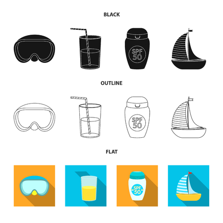 Isolated object of equipment and swimming symbol. Collection of equipment and activity stock vector illustration.