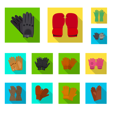 Isolated object of glove and winter symbol. Collection of glove and equipment vector icon for stock. Vettoriali