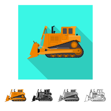Isolated object of build and construction logo. Set of build and machinery stock vector illustration.