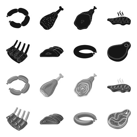 Vector illustration of meat and ham icon. Collection of meat and cooking vector icon for stock.  イラスト・ベクター素材