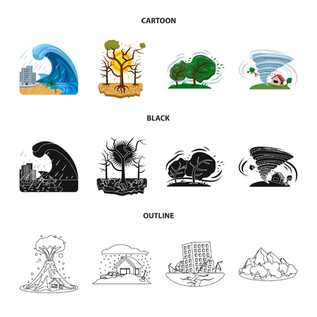 Vector illustration of natural and disaster sign. Collection of natural and risk stock symbol for web.