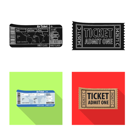 Vector illustration of ticket and admission logo. Collection of ticket and event stock symbol for web. 向量圖像