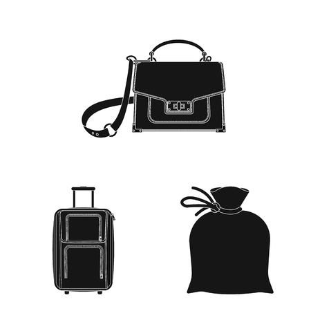 Vector design of suitcase and baggage sign. Set of suitcase and journey stock vector illustration.