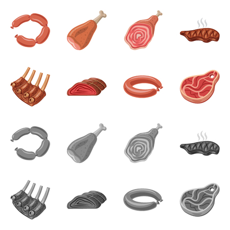 Vector illustration of meat and ham sign. Collection of meat and cooking vector icon for stock. Illustration