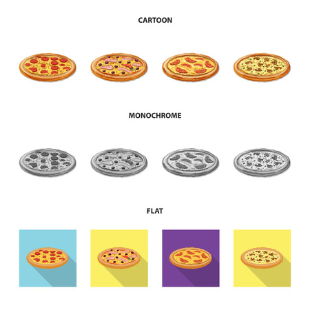 Vector illustration of pizza and food symbol. Collection of pizza and italy stock vector illustration. 일러스트
