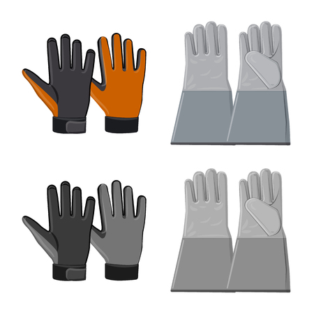 Vector design of glove and winter logo. Set of glove and equipment stock vector illustration. Banque d'images - 116572082