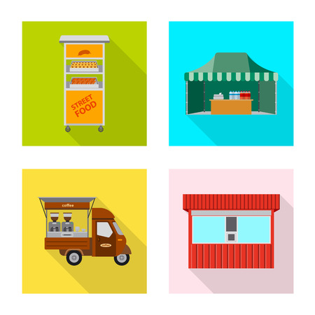 Vector illustration of market and exterior icon. Collection of market and food stock vector illustration. Stock Illustratie