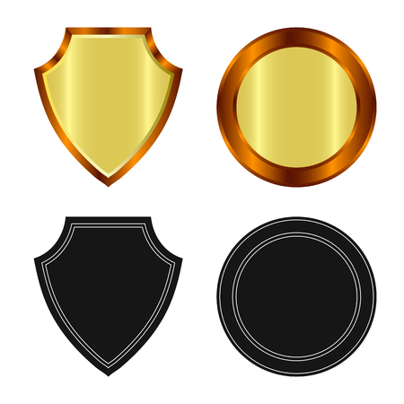 Vector design of emblem and badge symbol. Set of emblem and sticker stock symbol for web.