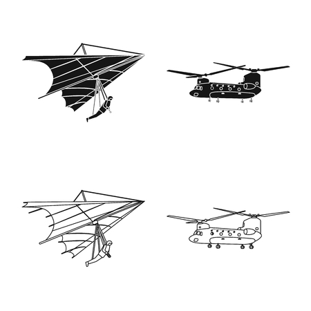 Vector design of plane and transport icon. Set of plane and sky stock symbol for web. Çizim