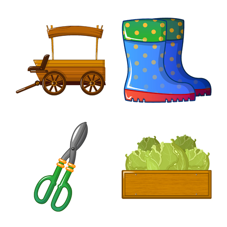 Vector illustration of farm and agriculture logo. Collection of farm and plant stock symbol for web.