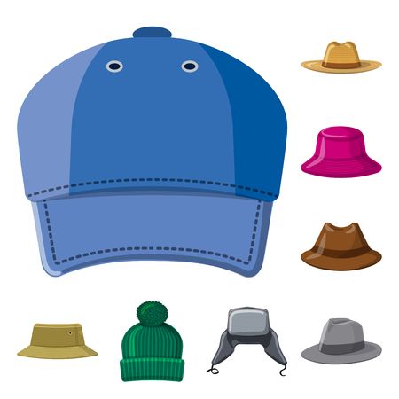 Isolated object of headgear and cap logo. Collection of headgear and accessory stock vector illustration. Stock Illustratie
