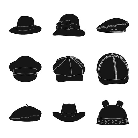 Vector design of headgear and cap logo. Set of headgear and accessory vector icon for stock.