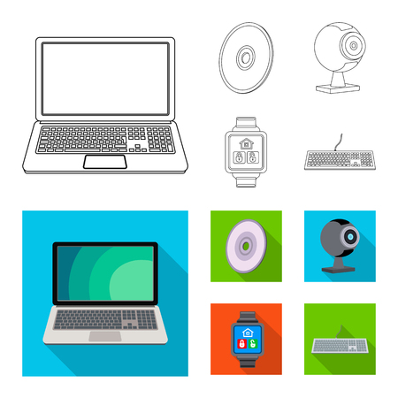 Vector design of laptop and device symbol. Set of laptop and server vector icon for stock. Illustration