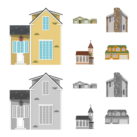 Isolated object of building and front symbol. Collection of building and roof stock vector illustration.