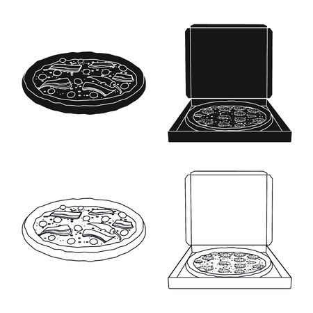 Isolated object of pizza and food symbol. Collection of pizza and italy vector icon for stock.