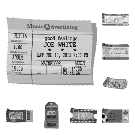 Vector design of ticket and admission icon. Collection of ticket and event vector icon for stock.