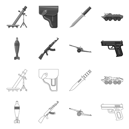 Vector design of weapon and gun icon. Set of weapon and army stock symbol for web. Stock Vector - 116651495