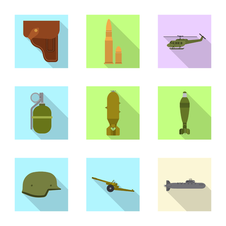 Vector design of weapon and gun symbol. Collection of weapon and army stock symbol for web. Stock Vector - 116651505