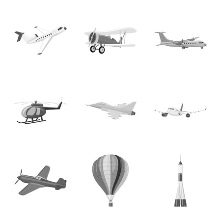 Isolated object of plane and transport icon. Set of plane and sky stock symbol for web.