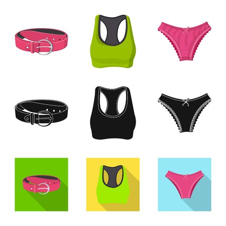 Illustration vectorielle du symbole de la femme et des vêtements. Ensemble de femme et porter le symbole boursier pour le web.