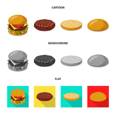 Vector illustration of burger and sandwich logo. Collection of burger and slice stock vector illustration.  イラスト・ベクター素材
