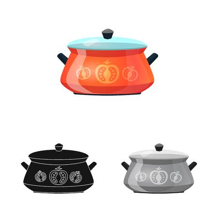 Objet isolé du symbole de la cuisine et du cuisinier. Ensemble d'illustration vectorielle stock cuisine et appareil. Vecteurs