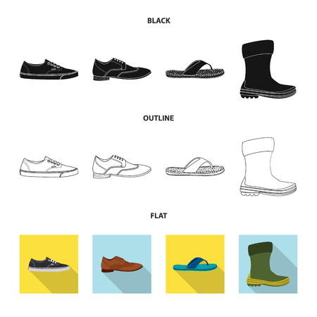 Vector illustration of shoe and footwear symbol. Set of shoe and foot vector icon for stock.