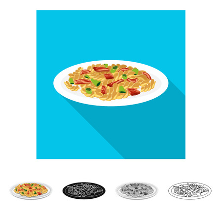 Vector illustration of pasta and carbohydrate icon. Collection of pasta and macaroni stock symbol for web. Иллюстрация